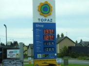 Petrol sign with both Euro pricing AND the British Pound. Located near Northern Ireland and Republic of Ireland border.
