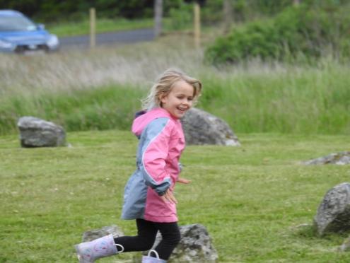 Waverly running through the stones