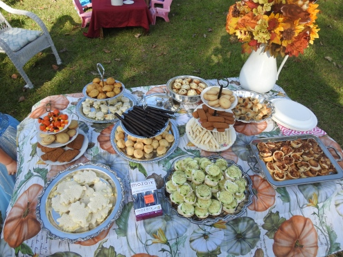 Egg Salad Sandwhiches, Cucumber on Sourdough, Apple Pie Bites, Sausage Pastry Bites, Crab Pastry Bites, Mac-n-cheese Bites, assortment of European Cookies.