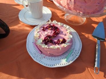 Organic Rose Petals on Rose and Lemon Birthday Cake