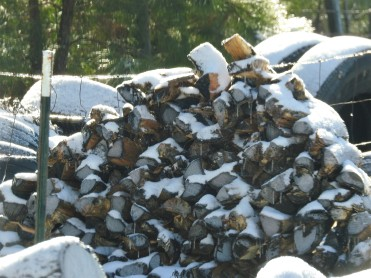 I love how the snow looks on the firewood
