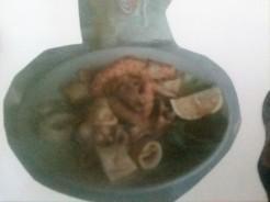 Fried Shrimp (Heads, skins and eyes on) and Calamari